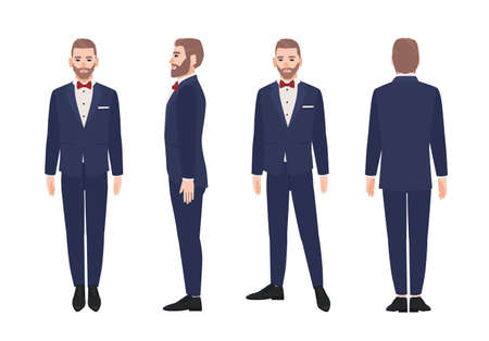 Attractive bearded man dressed in elegant suit or tuxedo. Happy male cartoon character wearing formal evening clothing and bowtie. Front, side and back views. Vector illustration in flat style