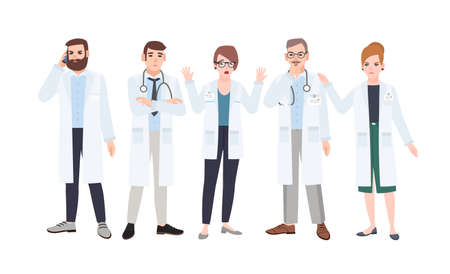 Panel of doctors or council of physicians discussing healthcare issues. Meeting of medicine workers. Group of angry and scared male and female cartoon characters. Colorful flat vector illustration
