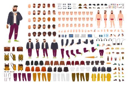Fat Guy Konstruktor-Set oder DIY-Kit. Bündel flacher Zeichentrickfigur-Körperteile, Posen, Gesten, Kleidung einzeln auf weißem Hintergrund. Vorder-, Seiten-, Rückansicht. Flache Cartoon-Vektor-Illustration.