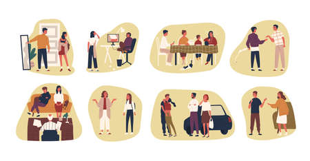 Collection of conflict situations or scenes between parents and their teenage kids. Bundle of adult people and teenagers arguing or quarrelling. Colorful vector illustration in flat cartoon style