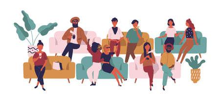 Personas sentadas en sofás en sala de espera, pasillo o área. Hombres y mujeres divertidos en sofás esperando película en el cine aislado sobre fondo blanco. Ilustración de vector colorido en estilo de dibujos animados plana