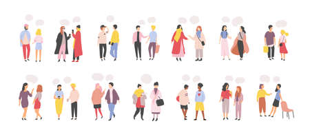 Collection of men and women standing and speaking, talking, chatting, delivering verbal messages to each other isolated on white background. Set of dialogs or conversations. Flat vector illustration Illustration