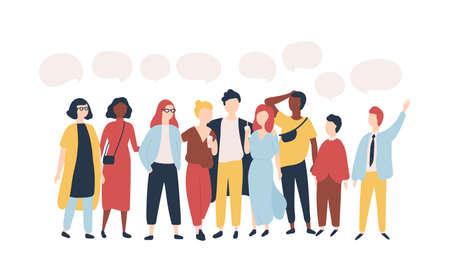 Giovani uomini e donne in piedi insieme e palloncini di discorso isolati su sfondo bianco. Personaggi dei cartoni animati maschili e femminili che parlano, parlano, consegnano messaggi verbali. Illustrazione vettoriale piatta
