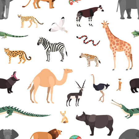 Seamless pattern with exotic animals on white background. Backdrop with wild fauna of African savannah and desert. Colorful vector illustration in flat cartoon style for wrapping paper, wallpaper