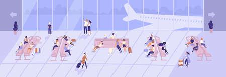 Hombres y mujeres dentro del edificio de la terminal del aeropuerto con grandes ventanas panorámicas y aviones vistos a través de ellos. Pasajeros sentados en bancos en la sala o área de espera. Ilustración vectorial de dibujos animados plana