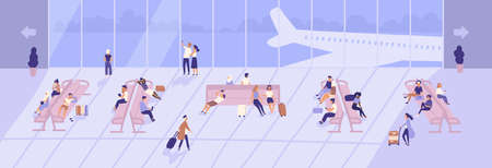 Men and women inside airport terminal building with large panoramic windows and airplanes seen through them. Passengers sitting on benches in waiting hall or area. Flat cartoon vector illustration Ilustração