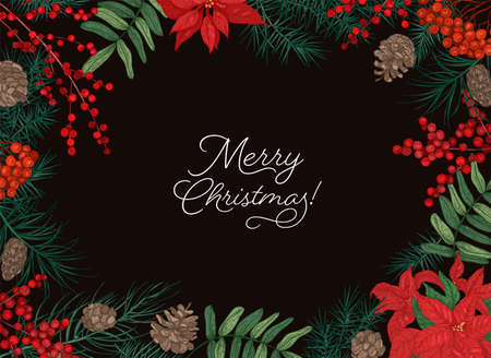 Horizontal frame or border made of branches and cones of coniferous trees, berries and poinsettia leaves hand drawn on black background and Merry Christmas holiday wish. Winter vector illustration Ilustração