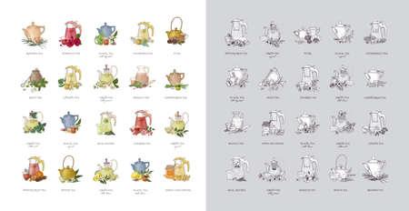 Fascio di etichette o cartellini con vari tipi di tè: nero, verde, rooibos, masala, mate, puer. Collezione di bevande aromatizzate gustose disegnate a mano o bevande naturali. Illustrazione vettoriale realistica