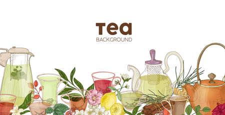 Elegante fondo horizontal o telón de fondo con teteras de cristal, tazas, delicioso té aromático, flores, bayas, hojas. Telón de fondo con bebida o bebida natural y saludable. Ilustración vectorial realista