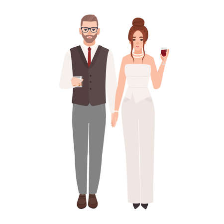 Elegant romantic couple in luxury evening outfits holding glasses with drinks isolated on white background. Fashionable man and woman dressed for party or event. Flat cartoon vector illustration Ilustração