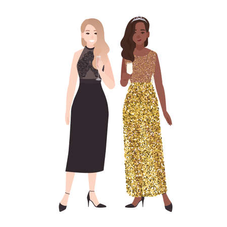 Pair of girls in posh elegant evening dresses standing together and drinking champagne. Pretty young women dressed for celebration party or formal occasion. Flat colorful vector illustration