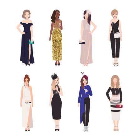 Collection of girls in luxury evening outfits isolated on white background. Bundle of elegant young women dressed for celebration party, event or formal occasion. Flat colorful vector illustration Vektorové ilustrace
