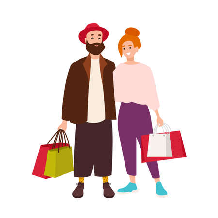 Cute happy couple carrying shopping bags. Smiling man and woman holding their purchases. Pair of shopaholics. Funny cartoon characters isolated on white background. Colorful flat vector illustration