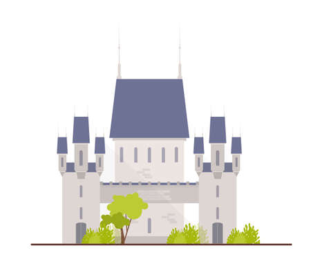 Beautiful medieval castle, fortress, citadel or stronghold isolated on white background. Facade of royal residence or ancient historical building. Colorful vector illustration in flat cartoon style.
