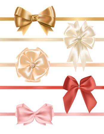 Collection of satin ribbons decorated with bows. Bundle of elegant decorative design elements. Set of festive gift decorations isolated on white background. Colorful realistic vector illustration