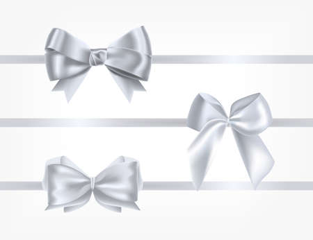 Collection of silk silver ribbons decorated with bows. Bundle of glossy decorative design elements. Set of holiday present decorations isolated on white background. Realistic vector illustration