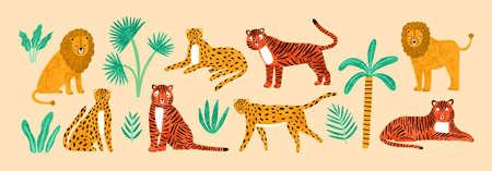 Sammlung amüsanter Löwen, Tiger, Leoparden, exotischer Blätter, tropischer Pflanzen und Palmen einzeln auf hellem Hintergrund. Bündel wilder afrikanischer Katzentiere. Flache Cartoon-Vektor-Illustration.