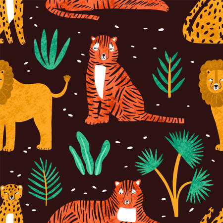 Childish seamless pattern with funny lions, tigers, leopards and leaves of tropical plants on dark background. Backdrop with cute wild exotic predators. Colorful vector illustration in flat style.