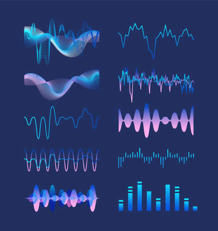 Set of various colorful sound music waves, audio or acoustic electronic signals isolated on dark background. Bundle of oscillation, vibration and fluctuation visualizations. Vector illustration Illustration