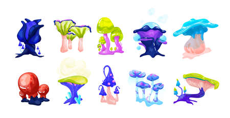 Collection of colorful magical fairytale mushrooms growing in enchanted forest. Set of exotic natural fantasy design elements isolated on white background. Vector illustration in cartoon style