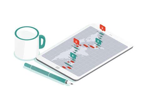 Composición decorativa con tablet PC y mapa mundial, gráfico de tasa de mercado de cambio internacional o indicadores de comercio de divisas Forex en pantalla, bolígrafo, taza de café. Ilustración vectorial isométrica
