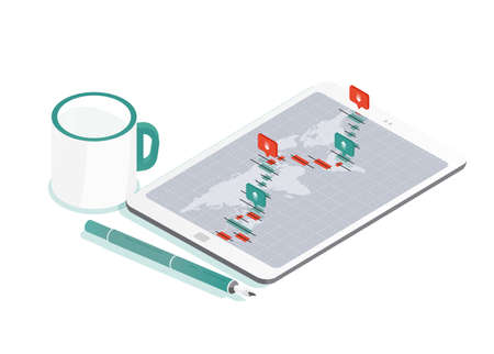 Decorative composition with tablet PC and world map, international exchange market rate graph or Forex currency trading indicators on screen, pen, cup of coffee. Isometric vector illustration