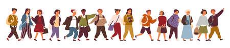 Raccolta di bambini, alunni o studenti delle scuole elementari o medie. Fascio di bambini che camminano per strada isolati su sfondo bianco. Illustrazione vettoriale colorato in stile cartone animato piatto