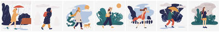 Collection of girl in various weather conditions. Bundle of young woman wearing seasonal clothes and walking on street in rain, snowfall, summer heat. Colorful vector illustration in flat style