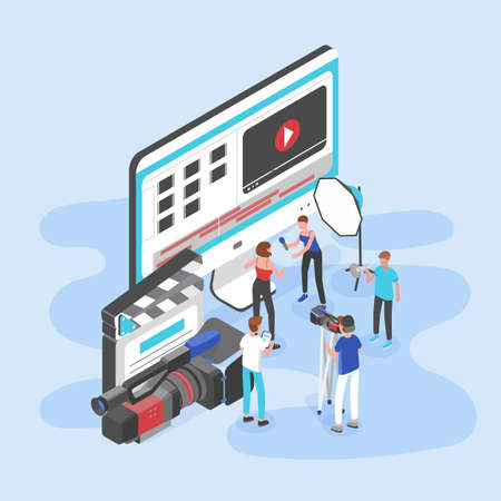 Group of people standing by giant computer display, clapperboard and camera and shooting video interview. Videography service or film production studio. Trendy colorful isometric vector illustration.