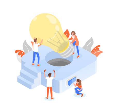 Groupe de personnes ou de membres de l'équipe mettant une ampoule géante dans un luminaire. Travail d'équipe ou travail collectif efficace et efficient, collaboration et coopération. Illustration vectorielle isométrique colorée. Vecteurs