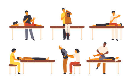 Collection of osteopaths performing treatment manipulations or massaging their patients. Set of specialists in osteopathy, chiropractic or manual therapy. Vector illustration in flat cartoon style