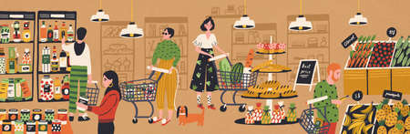 Men and women with shopping carts and baskets choosing and buying products at grocery store. People purchasing food at supermarket. Customers in retail shop. Flat cartoon vector illustration