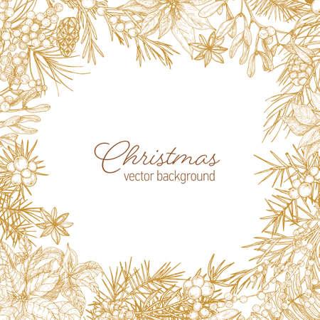 Vintage-Rahmen aus Nadelzweigen und Zapfen, Poinsettia-Blättern, Wacholder- und Mistelbeeren handgezeichnet mit Konturlinien auf weißem Hintergrund und Frohe Weihnachten-Wunsch. Vektor-Illustration