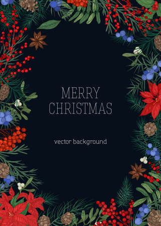 Christmas backdrop with frame made of branches and cones of coniferous trees, juniper and mistletoe berries and leaves, star anise on black background. Elegant vector illustration in antique style Illustration