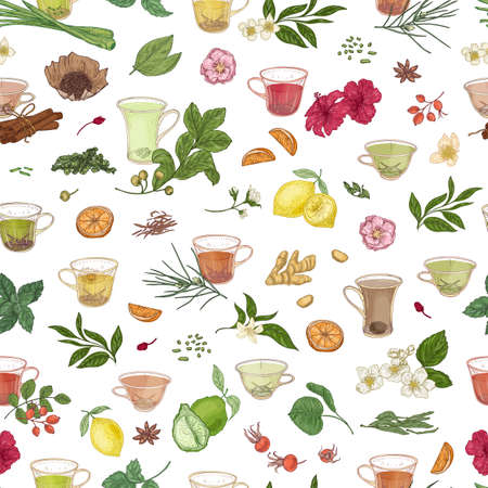 Seamless pattern with hand drawn cups with tea, citrus, spices, leaves, flowers and berries on white background. Elegant vector illustration in vintage style for textile print, wrapping paper