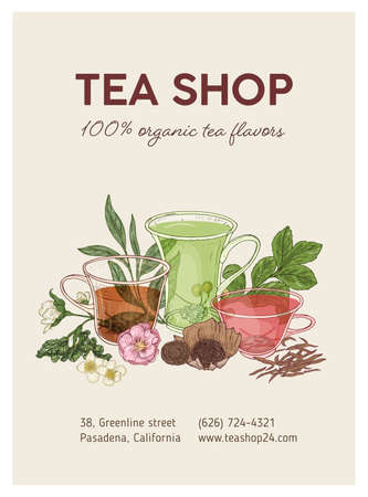 Elegant vertical flyer or poster template with cups of delicious tea, flowers, leaves and place for text. Realistic vector illustration in vintage style for store or shop advertisement, promotion