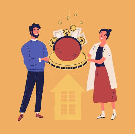 Feliz hombre y mujer sosteniendo bolso o billetera con monedas y billetes. Concepto de presupuesto familiar o doméstico, planificación financiera, gestión y ahorro de dinero. Ilustración de vector de estilo de dibujos animados plana
