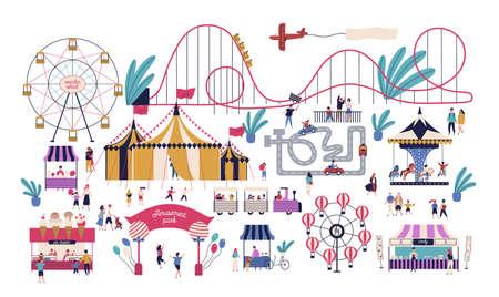 Des personnes minuscules dans un parc d'attractions avec diverses attractions, manèges, chapiteau de cirque, piste de kart, stands de barbe à papa et de crème glacée. Espace de divertissement familial. Illustration vectorielle dans un style plat Vecteurs