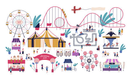 Tiny people in amusement park with various attractions, rides, circus tent, kart track, stalls with cotton candy and ice cream. Area for family entertainment. Vector illustration in flat style