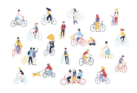 Collection of people riding bikes on city street. Bundle of men, women and children on bicycles isolated on white background. Outdoor activity set. Colorful vector illustration in cartoon style Çizim