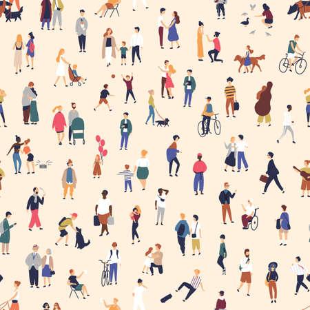 Patrón sin fisuras con gente pequeña caminando en la calle. Telón de fondo con hombres, mujeres y niños realizando actividades al aire libre. Ilustración de vector colorido en estilo de dibujos animados plana para papel tapiz, estampado de tela