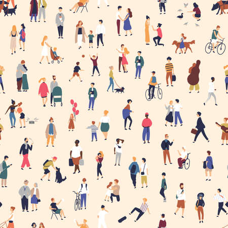 Seamless pattern with tiny people walking on street. Backdrop with men, women and children performing outdoor activity. Colorful vector illustration in flat cartoon style for wallpaper, fabric print