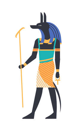 Anubis - god of afterlife, patron, deity or mythological creature with wolf or jackal head holding ankh symbol. Mythology and religion of ancient Egypt. Colorful vector illustration in flat style