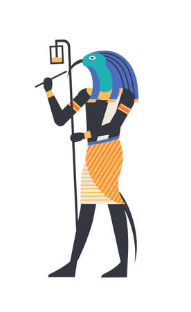 Thoth - god of moon, wisdom and magic, deity or mythological creature with bird or ibis head holding ankh symbol. Mythical or legendary character from ancient Egypt. Vector illustration in flat style