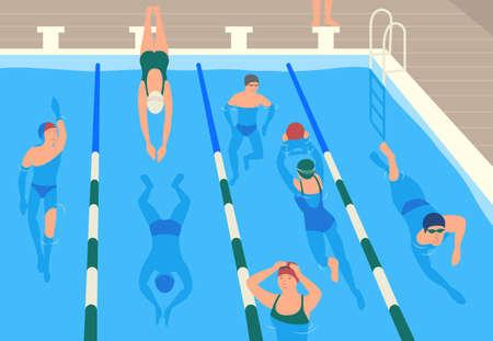 Personajes de dibujos animados planos masculinos y femeninos con gorras, gafas y trajes de baño saltando y nadando o adivinando en la piscina. Hombres y mujeres que realizan actividad deportiva en el agua. Ilustración vectorial moderna