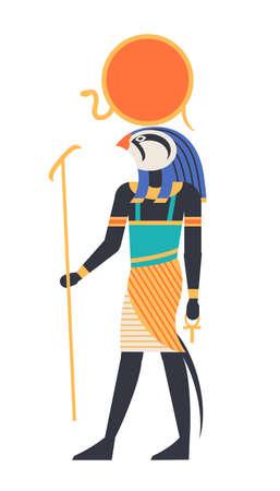 Ra - god of sun, creator, deity or mythological creature with bird, hawk or falcon head holding ankh symbol. Mythological character from ancient Egypt. Colorful vector illustration in flat style Ilustracje wektorowe