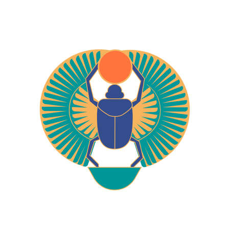 Scarab  holding sun, ancient Egyptian hieroglyphic sign or logograph isolated on white background. Historical artefact, religious amulet, symbol of rebirth. Colorful vector illustratration.