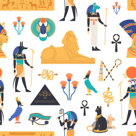 Seamless pattern with gods, deities and mythological creatures from ancient Egyptian mythology and religion, sacred animals, symbols, architecture and sculpture. Colorful flat vector illustration Ilustrace