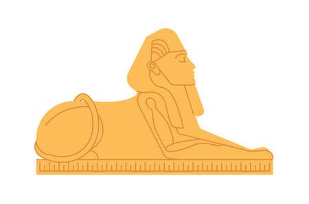 Gran esfinge de Giza, deidad o criatura mitológica con cabeza humana y cuerpo de león. Colosal estatua de personaje mítico o legendario del antiguo Egipto. Ilustración de vector plano coloreado Ilustración de vector