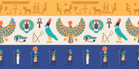 Seamless pattern with gods, deities and creatures from ancient Egyptian mythology and religion, hieroglyphs, religious symbols. Colorful flat vector illustration for textile print, backdrop
